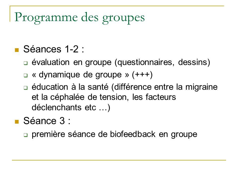Programme des groupes Séances 1-2 : Séance 3 :