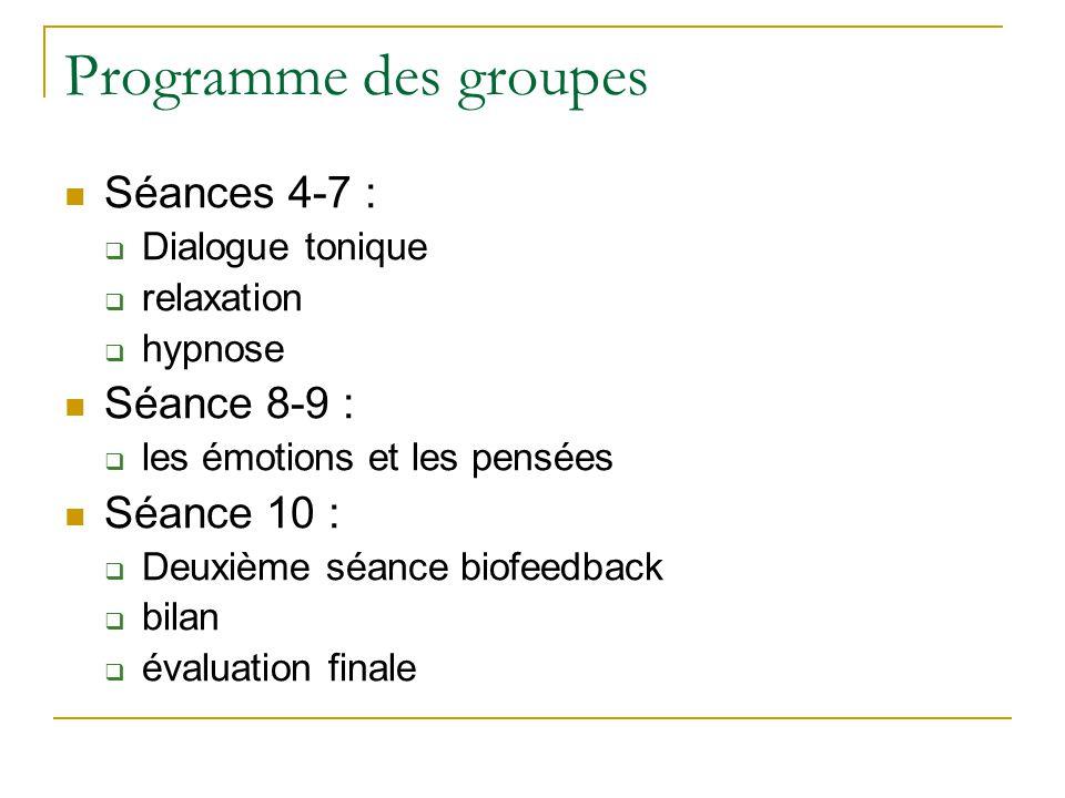Programme des groupes Séances 4-7 : Séance 8-9 : Séance 10 :