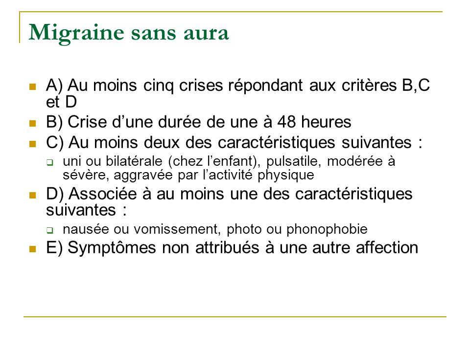 Migraine sans aura A) Au moins cinq crises répondant aux critères B,C et D. B) Crise d'une durée de une à 48 heures.