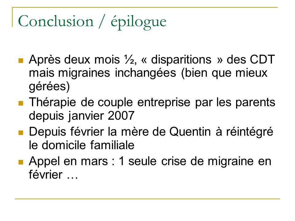 Conclusion / épilogue Après deux mois ½, « disparitions » des CDT mais migraines inchangées (bien que mieux gérées)