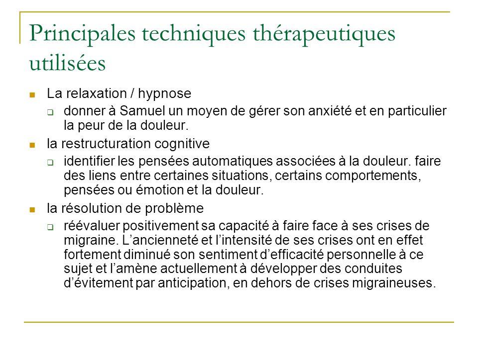 Principales techniques thérapeutiques utilisées
