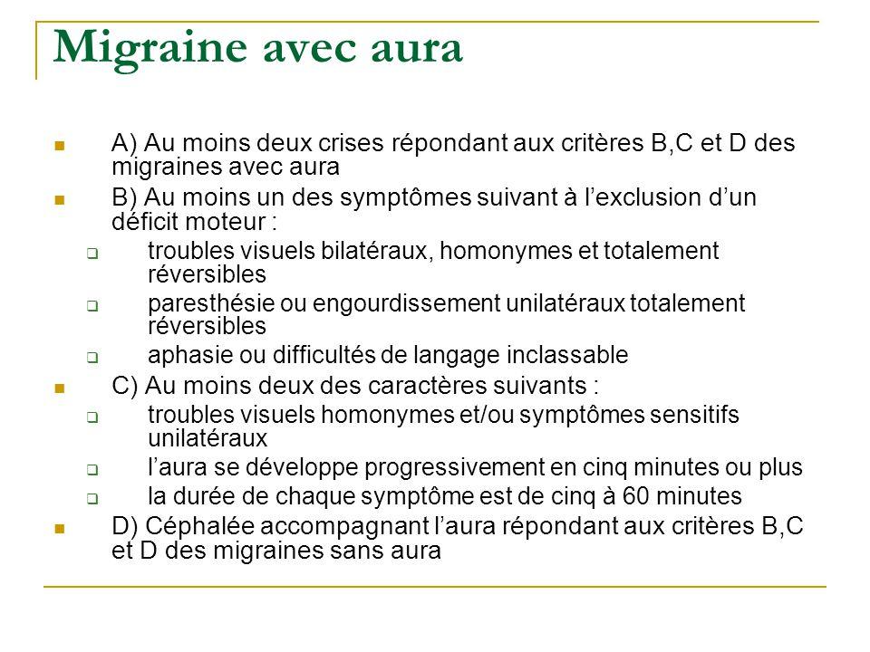 Migraine avec aura A) Au moins deux crises répondant aux critères B,C et D des migraines avec aura.