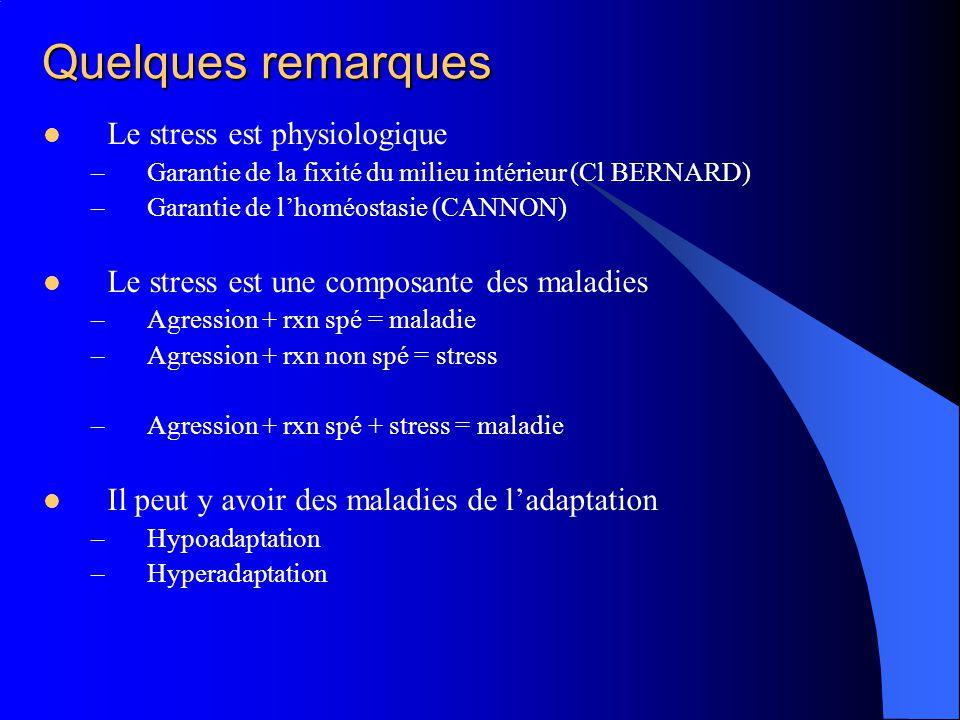 Quelques remarques Le stress est physiologique