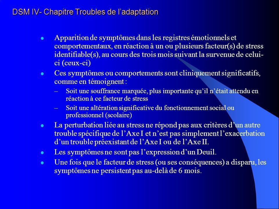 DSM IV- Chapitre Troubles de l'adaptation