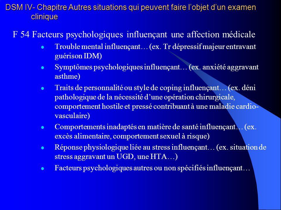 F 54 Facteurs psychologiques influençant une affection médicale