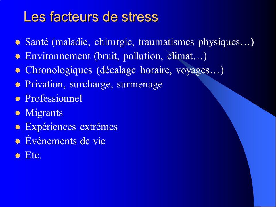 Les facteurs de stress Santé (maladie, chirurgie, traumatismes physiques…) Environnement (bruit, pollution, climat…)