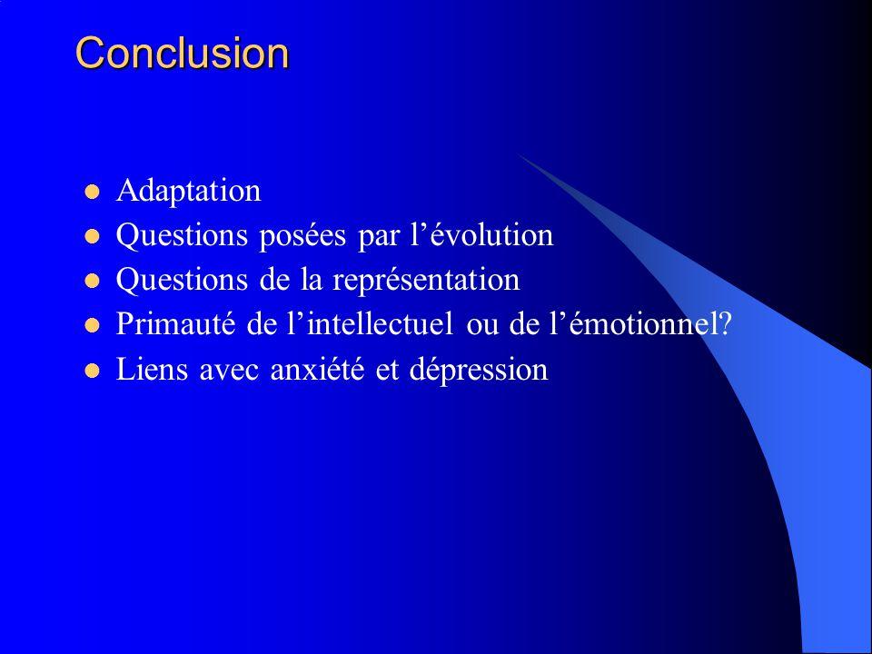 Conclusion Adaptation Questions posées par l'évolution