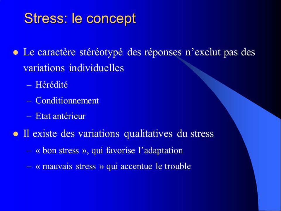 Stress: le concept Le caractère stéréotypé des réponses n'exclut pas des variations individuelles. Hérédité.