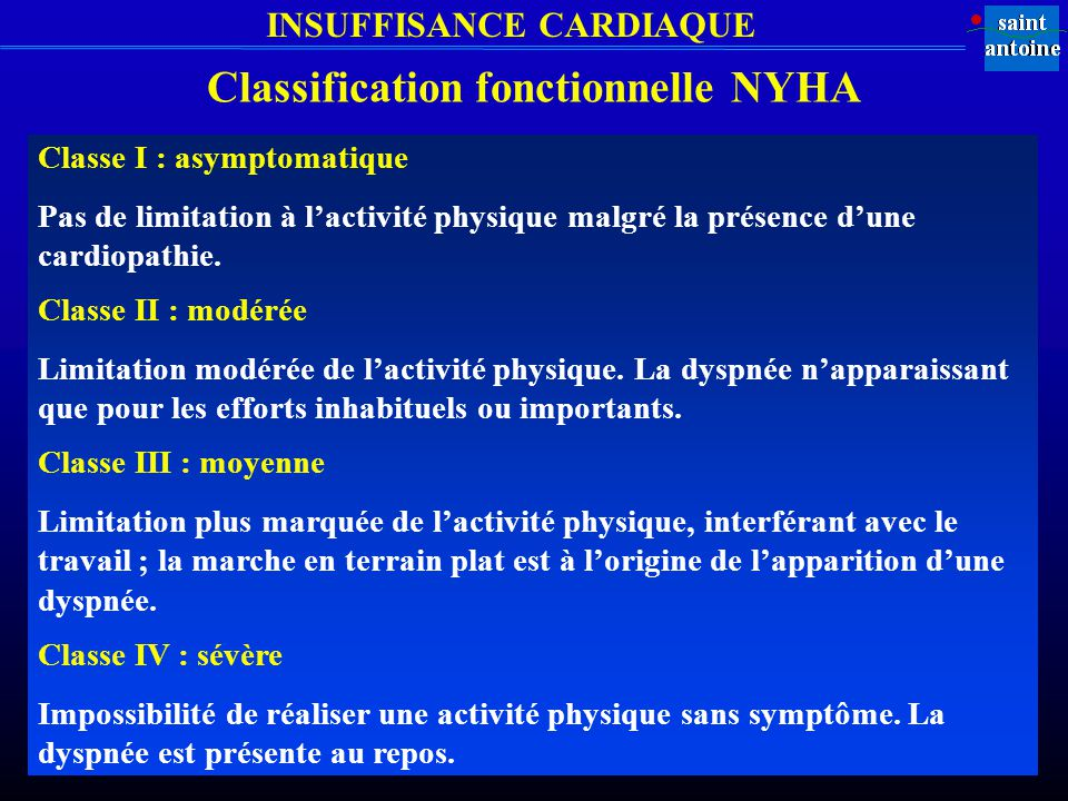 Classification fonctionnelle NYHA