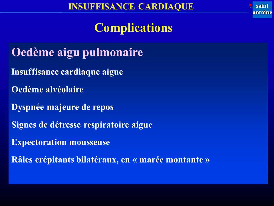 Complications Oedème aigu pulmonaire Insuffisance cardiaque aigue