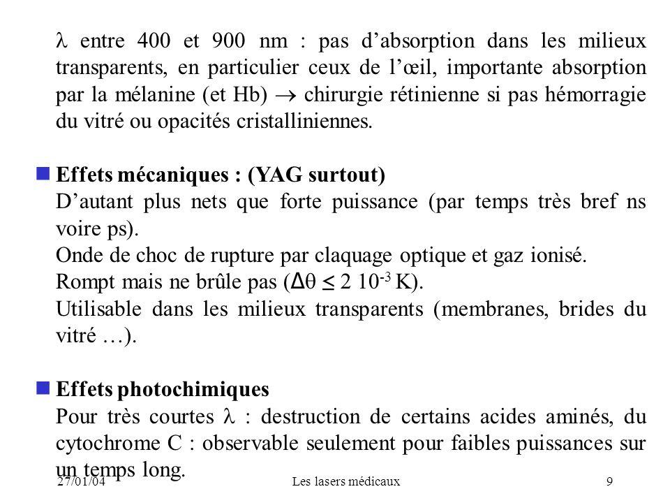 Effets mécaniques : (YAG surtout)