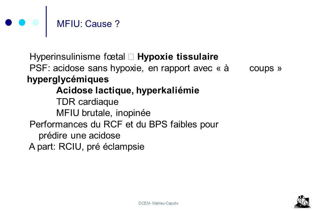 MFIU: Cause Hyperinsulinisme fœtal  Hypoxie tissulaire. PSF: acidose sans hypoxie, en rapport avec « à coups » hyperglycémiques.