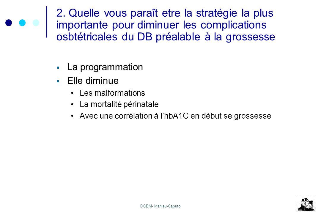 2. Quelle vous paraît etre la stratégie la plus importante pour diminuer les complications osbtétricales du DB préalable à la grossesse