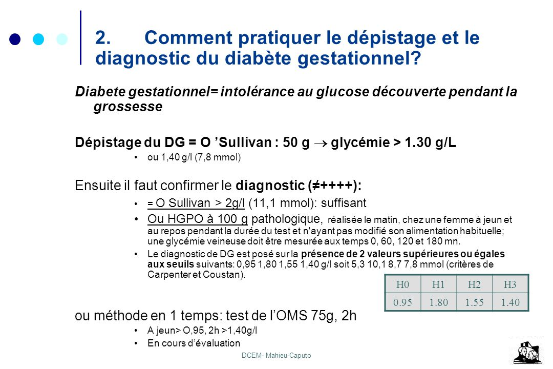 2. Comment pratiquer le dépistage et le diagnostic du diabète gestationnel