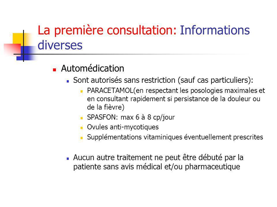 La première consultation: Informations diverses