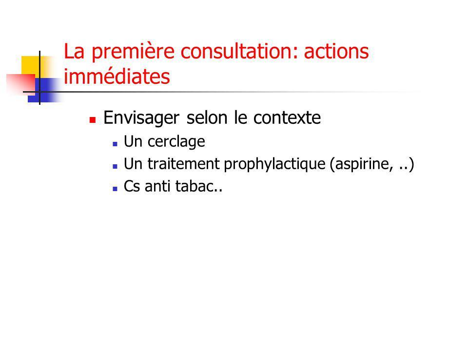 La première consultation: actions immédiates