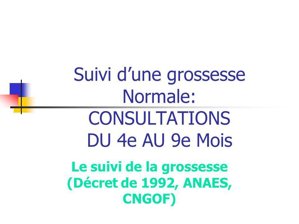 Suivi d'une grossesse Normale: CONSULTATIONS DU 4e AU 9e Mois