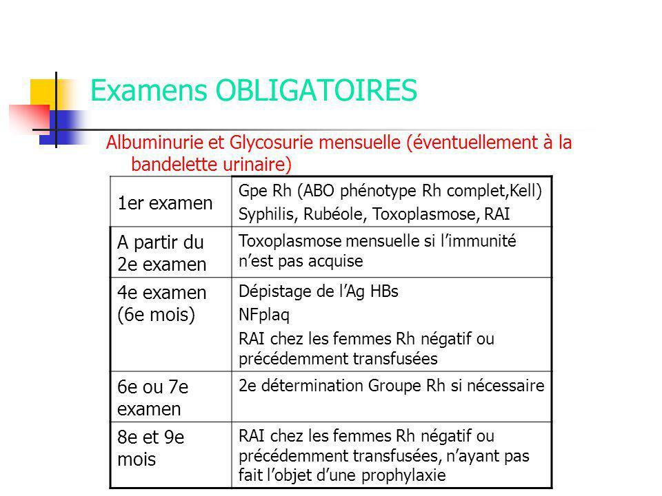 Examens OBLIGATOIRES 1er examen A partir du 2e examen