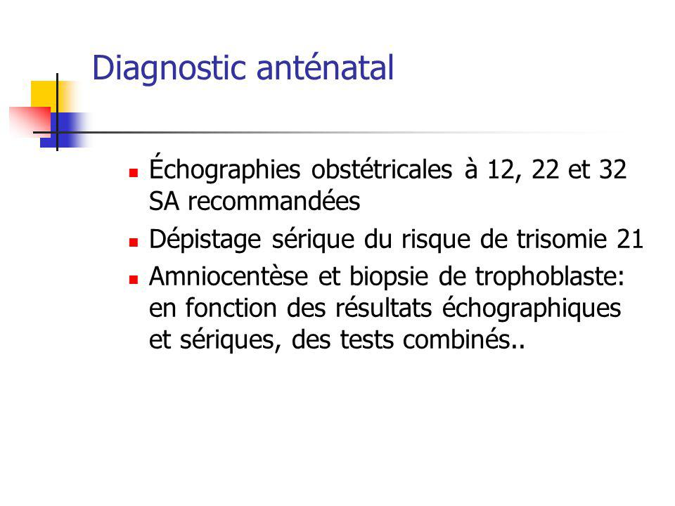 Diagnostic anténatal Échographies obstétricales à 12, 22 et 32 SA recommandées. Dépistage sérique du risque de trisomie 21.