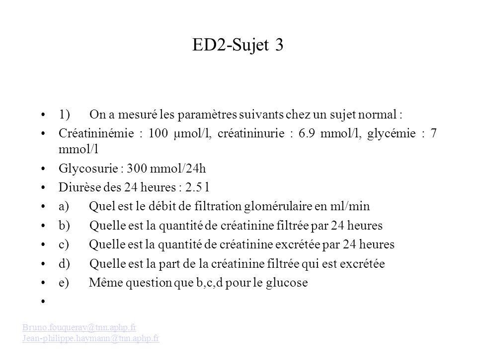 ED2-Sujet 3 1) On a mesuré les paramètres suivants chez un sujet normal :