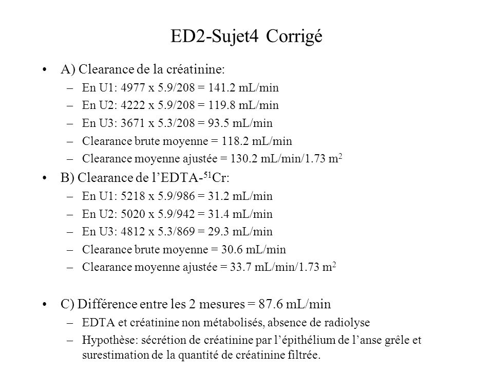 ED2-Sujet4 Corrigé A) Clearance de la créatinine: