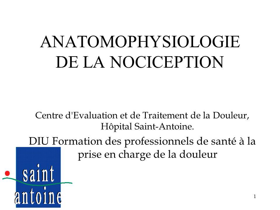 ANATOMOPHYSIOLOGIE DE LA NOCICEPTION