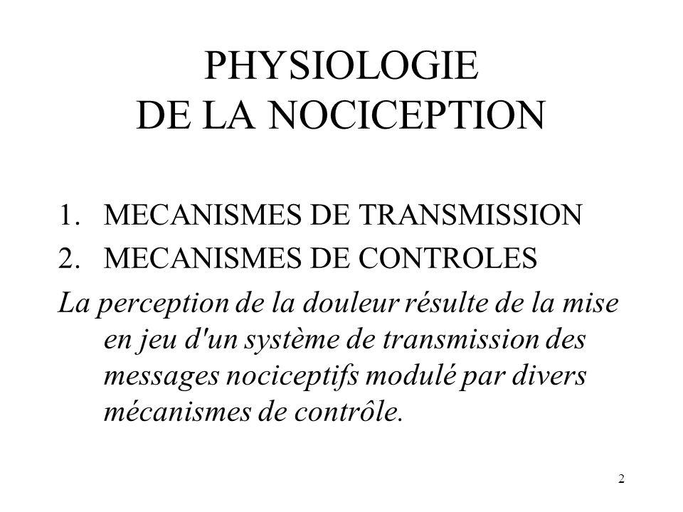 PHYSIOLOGIE DE LA NOCICEPTION