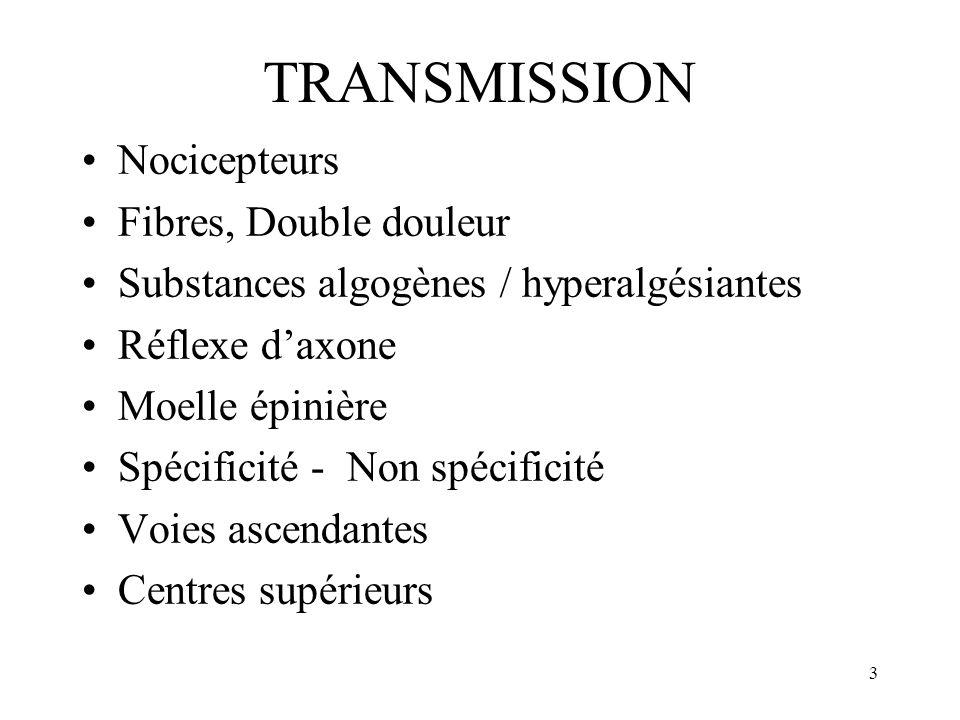 TRANSMISSION Nocicepteurs Fibres, Double douleur