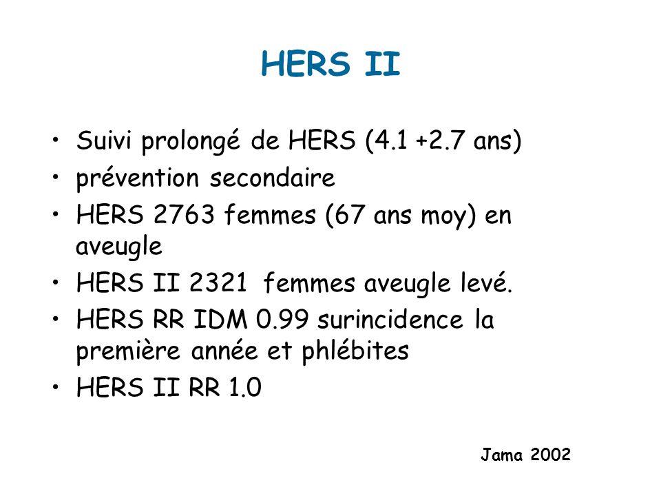HERS II Suivi prolongé de HERS (4.1 +2.7 ans) prévention secondaire