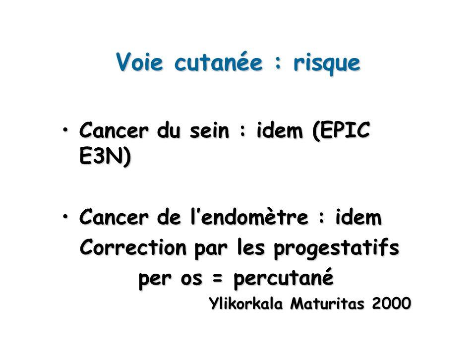 Voie cutanée : risque Cancer du sein : idem (EPIC E3N)