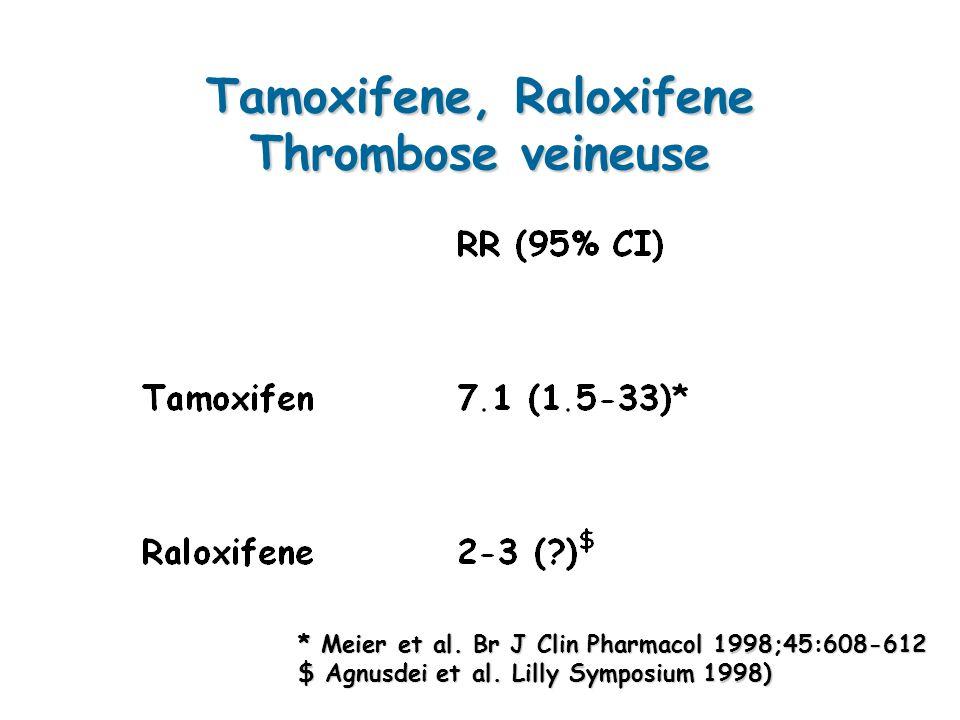 Tamoxifene, Raloxifene Thrombose veineuse