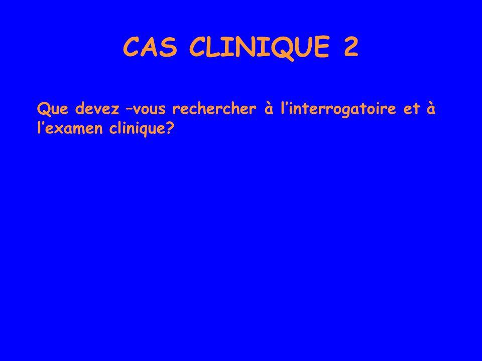 CAS CLINIQUE 2 Que devez –vous rechercher à l'interrogatoire et à l'examen clinique