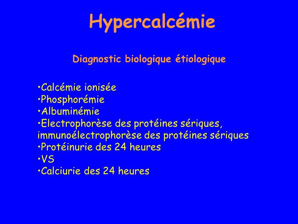 Hypercalcémie Diagnostic biologique étiologique Calcémie ionisée