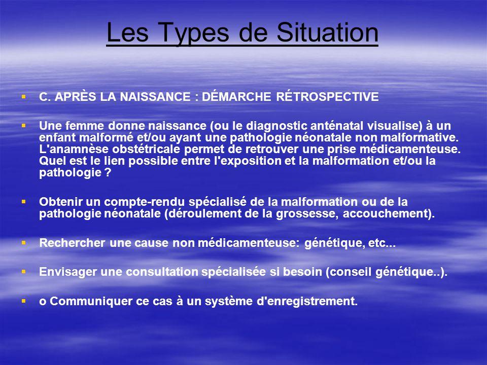 Les Types de Situation C. APRÈS LA NAISSANCE : DÉMARCHE RÉTROSPECTIVE