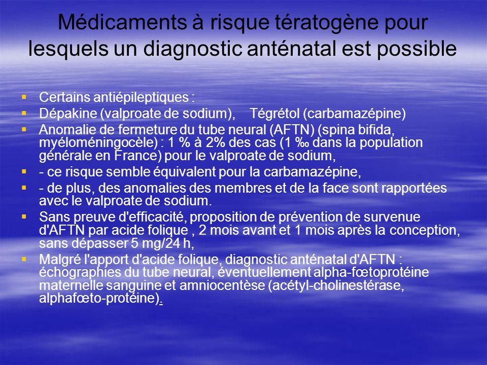 Médicaments à risque tératogène pour lesquels un diagnostic anténatal est possible