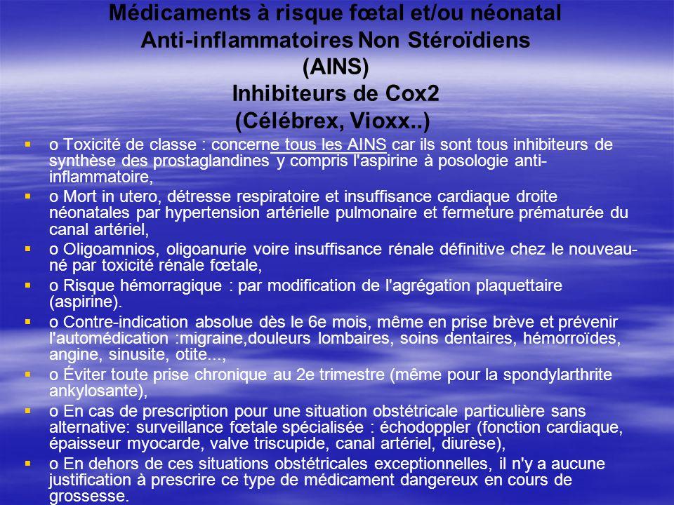Médicaments à risque fœtal et/ou néonatal Anti-inflammatoires Non Stéroïdiens (AINS) Inhibiteurs de Cox2 (Célébrex, Vioxx..)