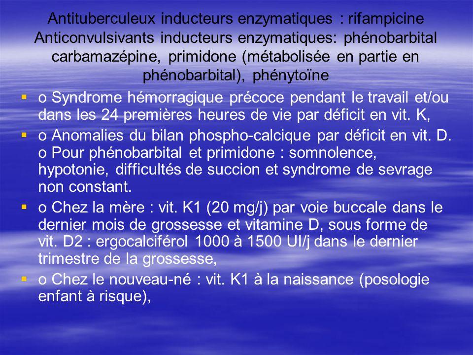 Antituberculeux inducteurs enzymatiques : rifampicine Anticonvulsivants inducteurs enzymatiques: phénobarbital carbamazépine, primidone (métabolisée en partie en phénobarbital), phénytoïne