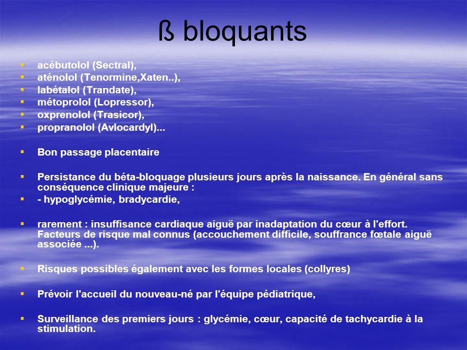 ß bloquants acébutolol (Sectral), aténolol (Tenormine,Xaten..),