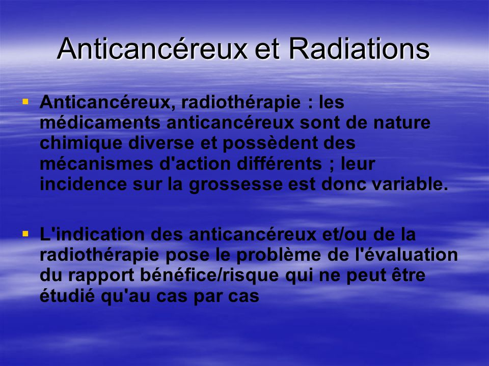 Anticancéreux et Radiations