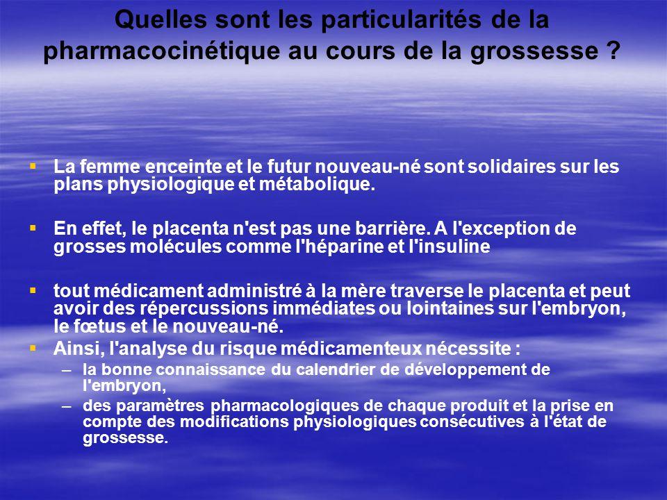 Quelles sont les particularités de la pharmacocinétique au cours de la grossesse