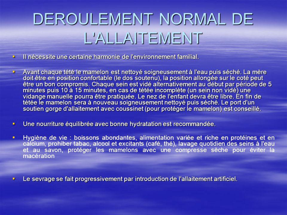 DEROULEMENT NORMAL DE L ALLAITEMENT