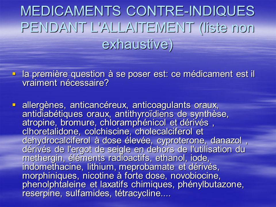 MEDICAMENTS CONTRE-INDIQUES PENDANT L ALLAITEMENT (liste non exhaustive)