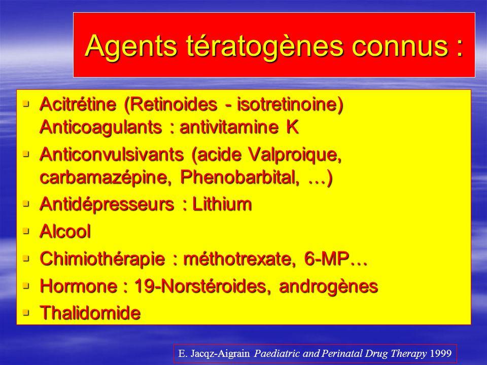 Agents tératogènes connus :