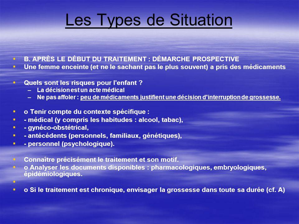 Les Types de Situation B. APRÈS LE DÉBUT DU TRAITEMENT : DÉMARCHE PROSPECTIVE.
