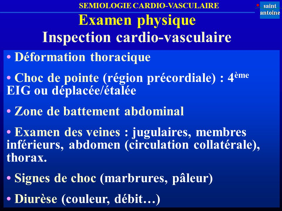 Inspection cardio-vasculaire