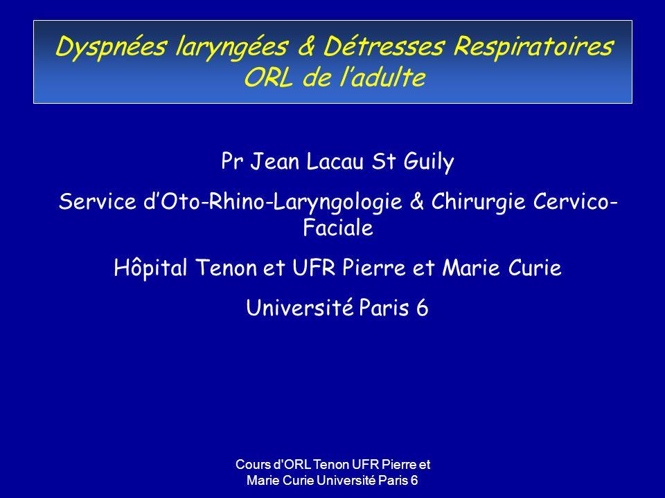 Dyspnées laryngées & Détresses Respiratoires ORL de l'adulte
