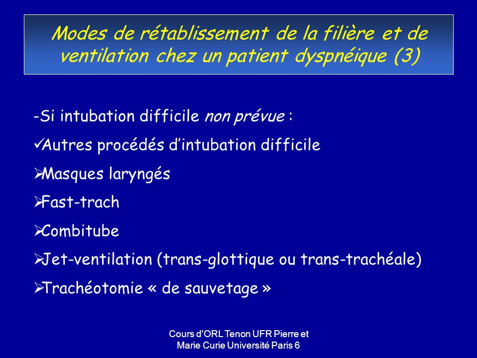 Cours d ORL Tenon UFR Pierre et Marie Curie Université Paris 6