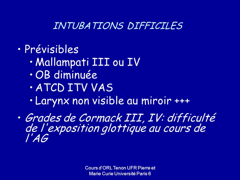 INTUBATIONS DIFFICILES
