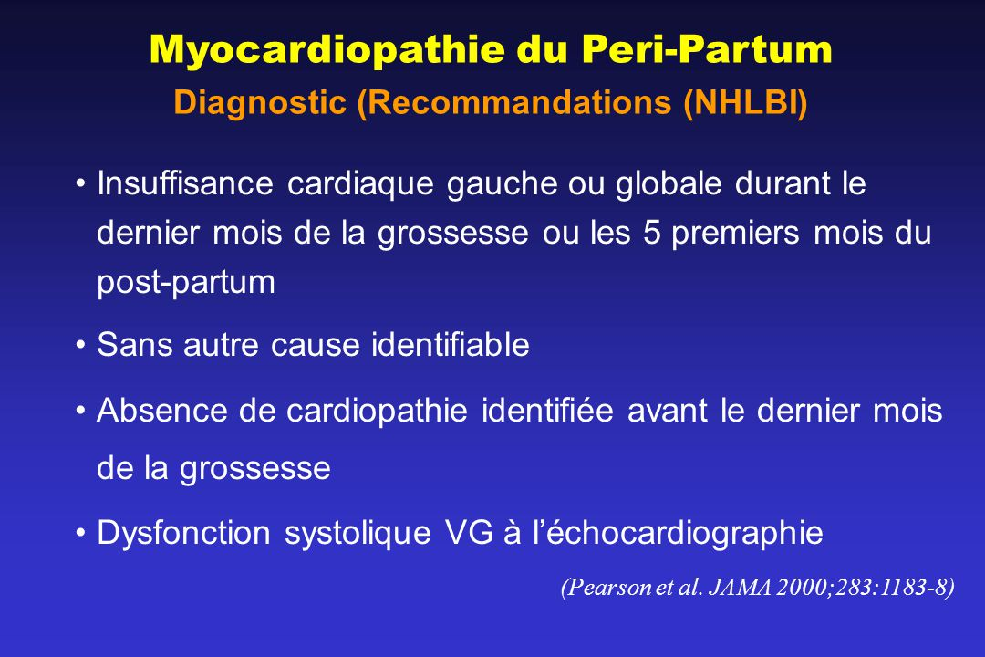 Diagnostic (Recommandations (NHLBI)