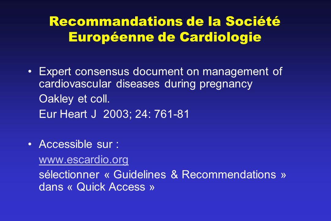Recommandations de la Société Européenne de Cardiologie